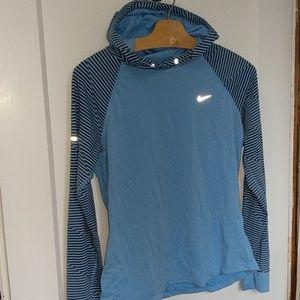 Nike Dri-fit blue hooded long sleeve, Md